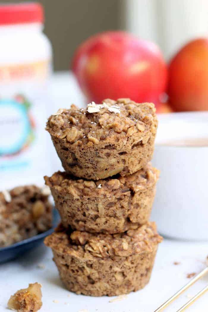 A vegan and gluten-free breakfast or healthy snack on the go, these Apple Pie Baked Oatmeal Cups are packed with fall flavor and nutrition from whole grain oats, plant protein, and sweet apples.