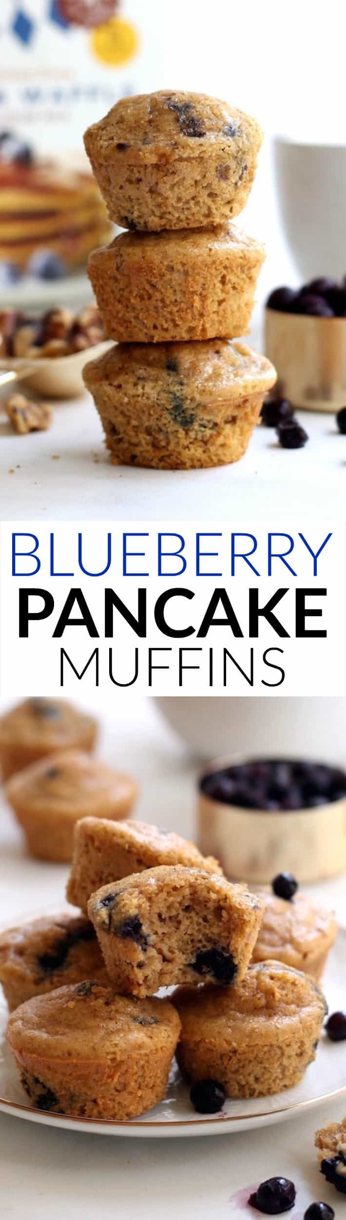 Fluffy, wholesome, grain-free pancakes in muffin form! These flourless Mini Blueberry Walnut Pancake Muffins are the perfect on-the-go breakfast or snack.
