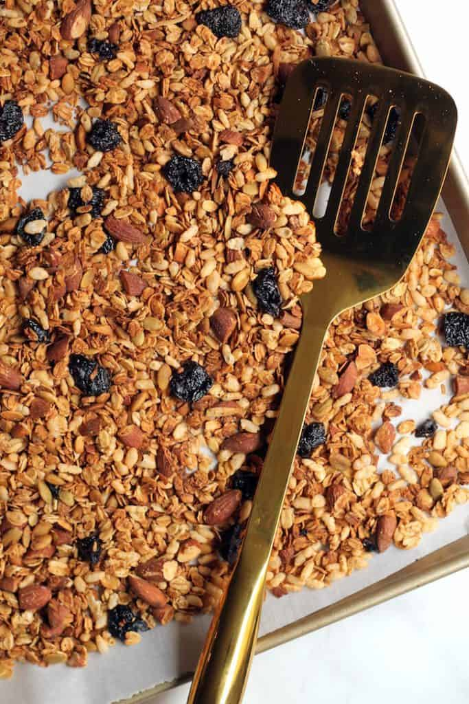 Snack smarter with this delicious Cherry Almond Granola! Sweetened with a touch of pure maple syrup and dried cherries, it makes the perfect healthy breakfast or snack.