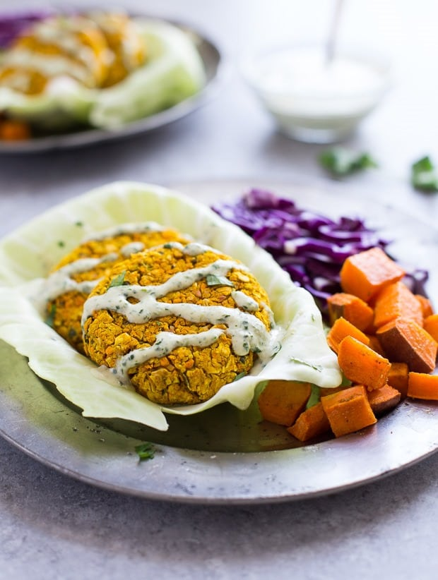 Curried Sweet Potato Chickpea Burgers from Making Thyme for Health