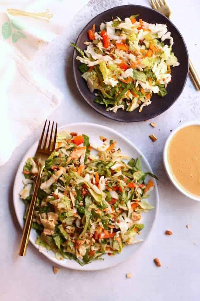 """This tasty Crunchy Thai Salad with Creamy """"Peanut"""" Dressing is packed with crisp veggies and a simple allergy-free """"peanut"""" sauce that will have everyone begging for seconds! Vegan and gluten-free."""