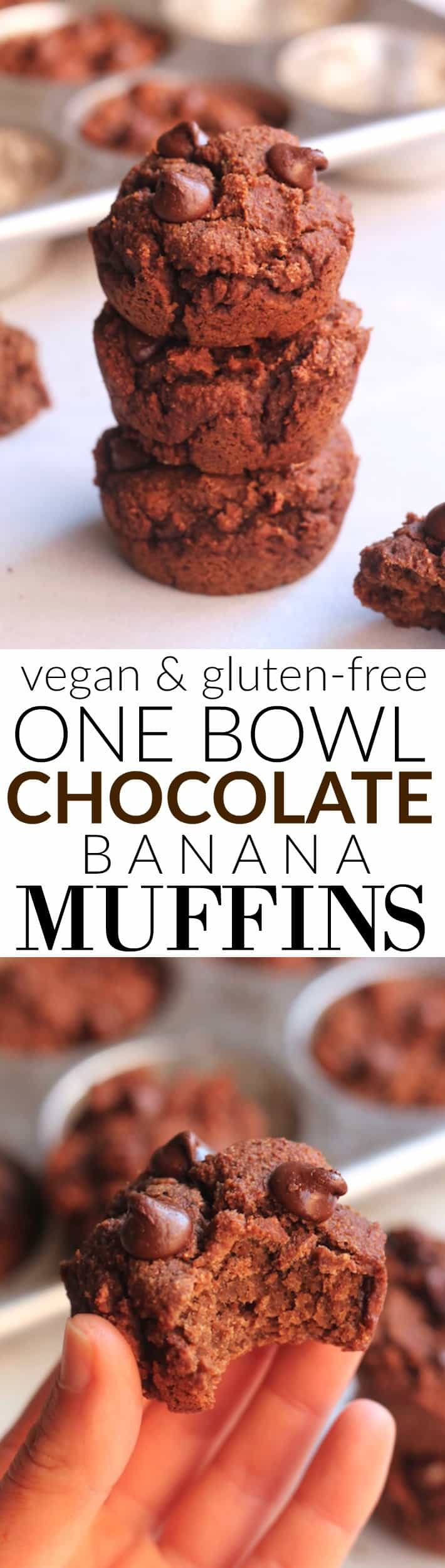 These One Bowl Chocolate Banana Muffins are super moist and secretly healthy! Made with whole grain oat flour, almond flour, and sweetened naturally with bananas and dates, they make the perfect healthy and delicious treat or snack. Vegan and Gluten-free!
