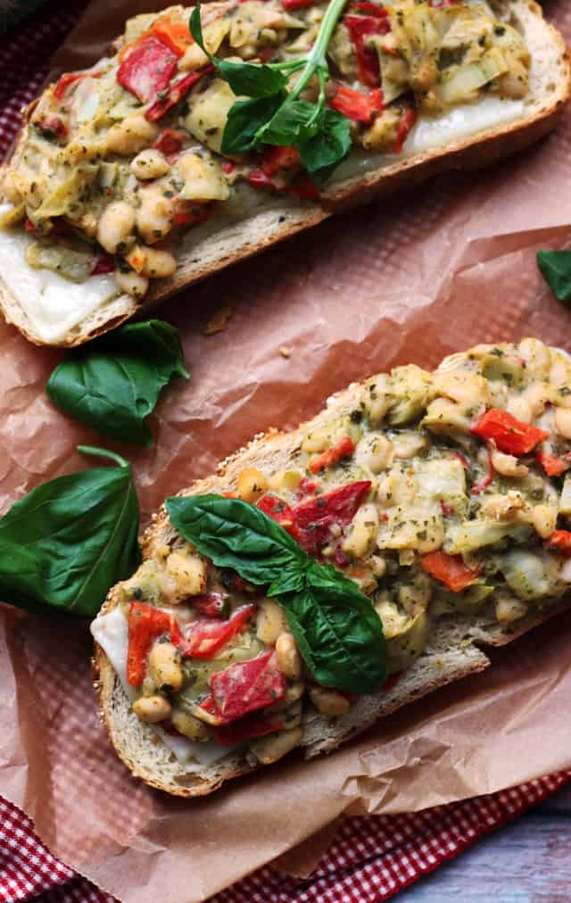 Open-Faced Pesto Salad Sandwich Melts from Eats Well With Others