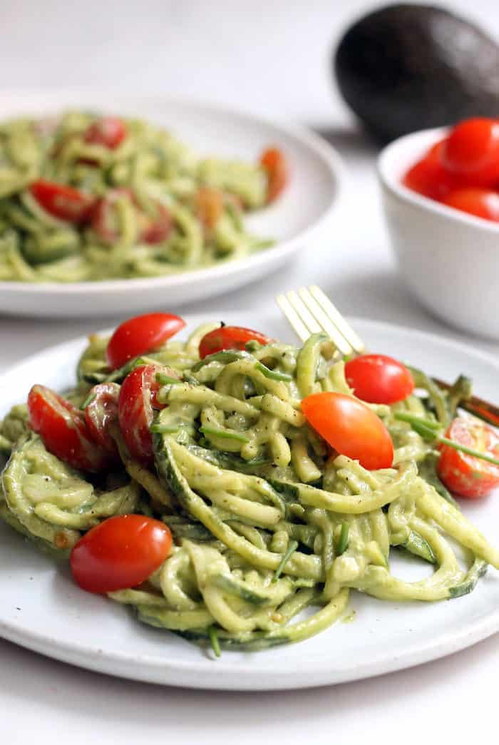 Avocado Basil Pesto Zucchini Noodles from Hummusapien