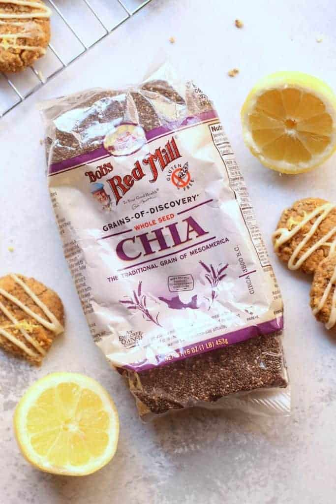 Enjoy a few of these easy, healthy, and delicious Flourless Lemon Chia Cake Cookies as a snack or treat! They're soft, pillowy and perfect for vegan, paleo, and gluten-free diets.