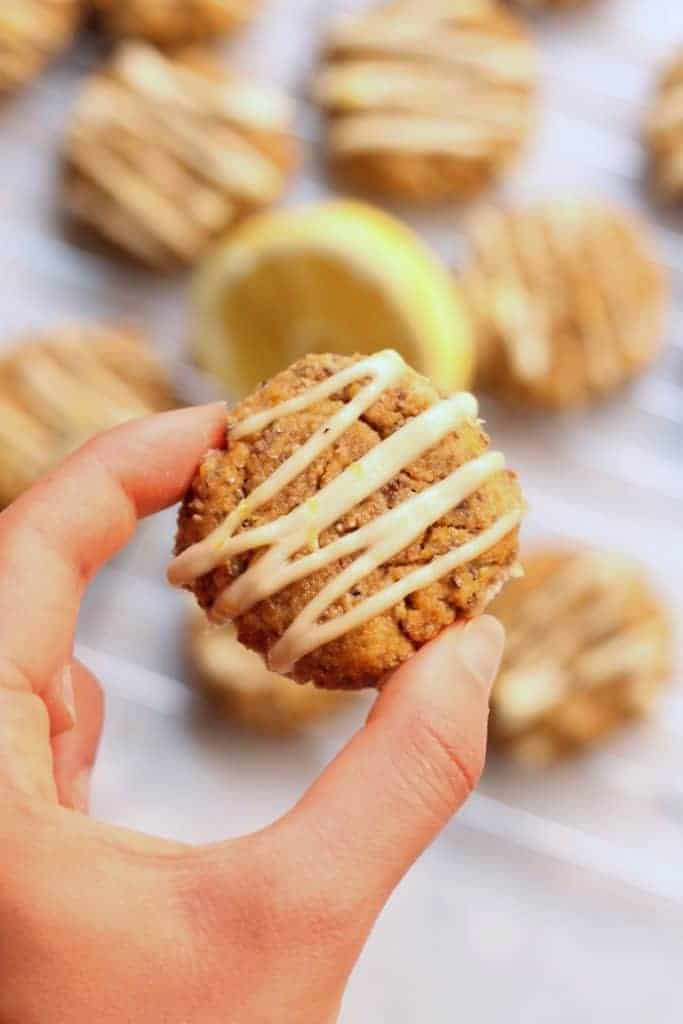 Enjoy a few of these easy, healthy, and delicious Flourless Lemon Chia Cake Cookies as a snack or treat! They