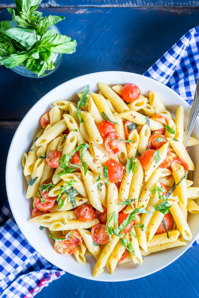 One Pot Creamy Vegan Caprese Pasta from She Likes Food