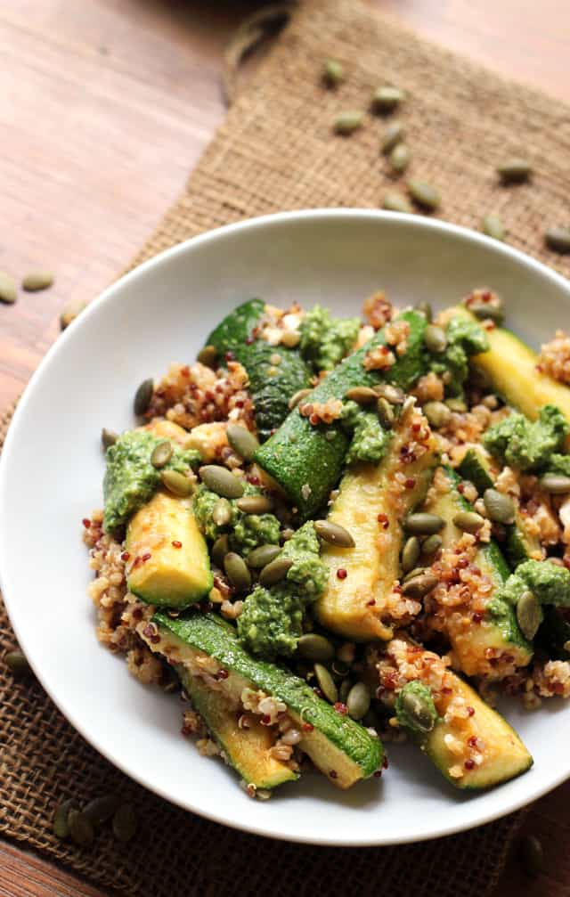 Roasted Zucchini and Quinoa Bowls with Cilantro Pepita Pesto from Eats Well With Others