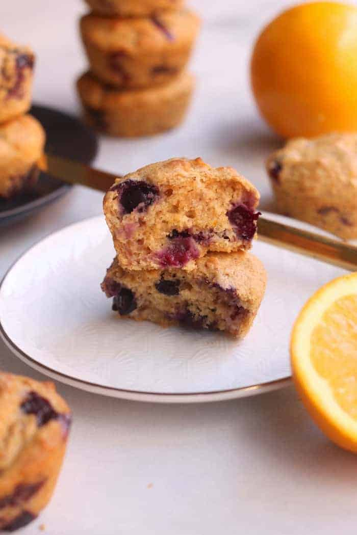Tender, moist, and sweet, these lightly sweetened healthy Blueberry Orange Muffins are delicious for breakfast or as an afternoon pick-me-up! An easy, kid-friendly, vegan-friendly recipe.