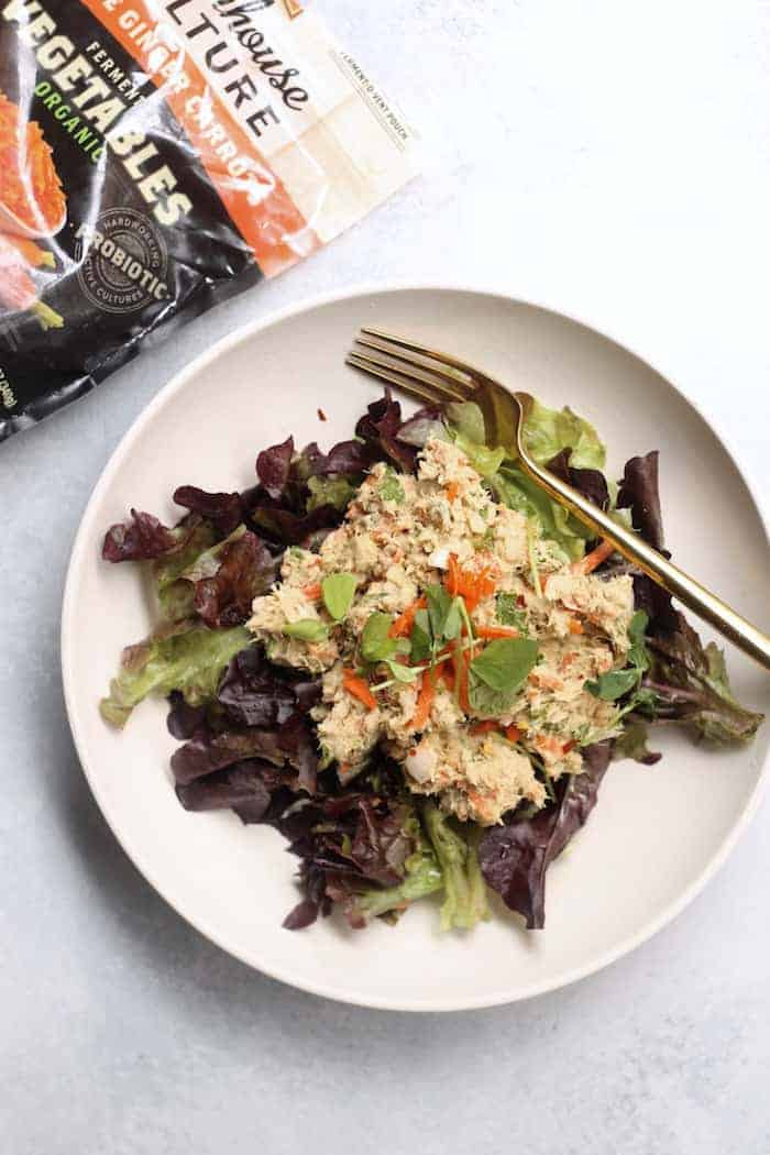 Healthy Asian Sesame Tuna Salad + Three Tasty Ways to Get Your Fermented Veggies On