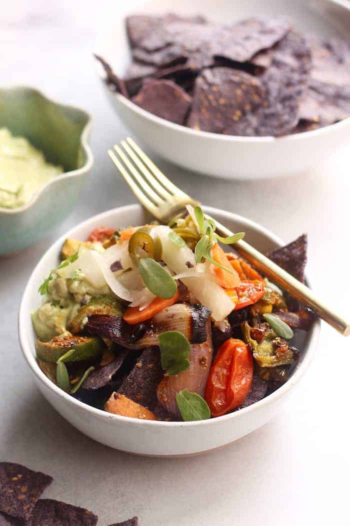 Roasted Veggie Nachos Bowl + Three Tasty Ways to Get Your Fermented Veggies On