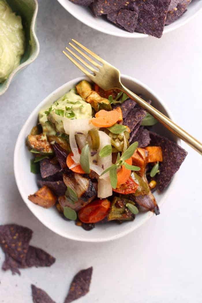 Roasted Veggie Taco Bowl. Vegan and gluten-free! (Three Ways to Get Your Fermented Veggies On!)