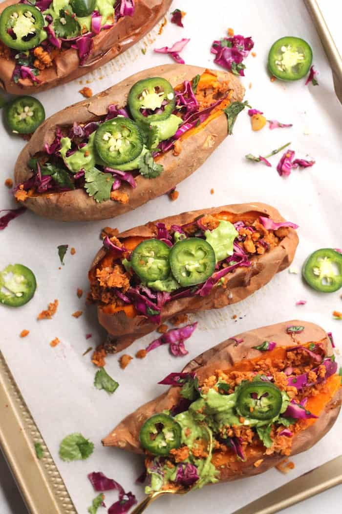 Vegan Taco Stuffed Sweet Potatoes from Hummusapien