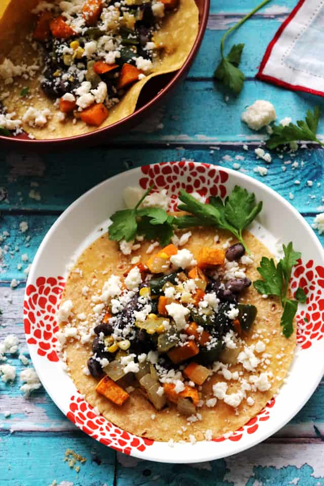 Soft Corn Tacos with Roasted Sweet Potatoes, Poblano Peppers, and Corn from Eats Well With Others