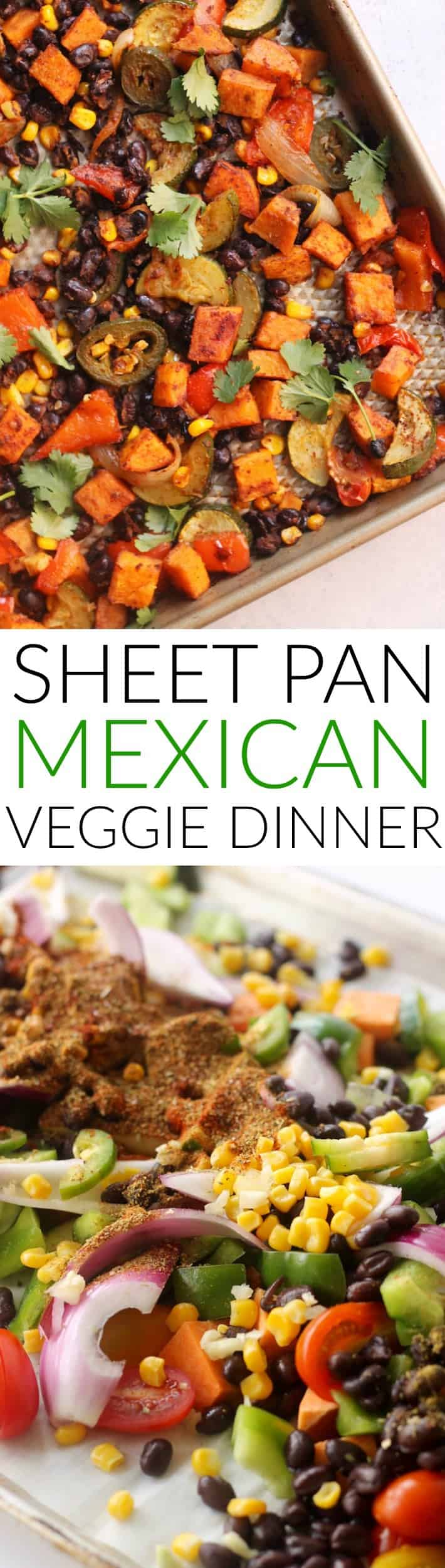 This one-pan, plant-powered Sheet Pan Mexican Veggie Dinner with avocado crema makes cooking a breeze! Enjoy this hearty, flavorful mix as is or as taco filling with avocado and salsa. Vegan and gluten-free.