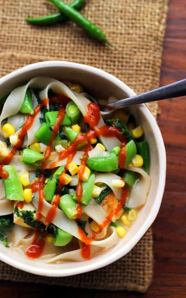 Miso Noodle Soup with Corn, Kale, and Snap Peas from Eats Well With Others