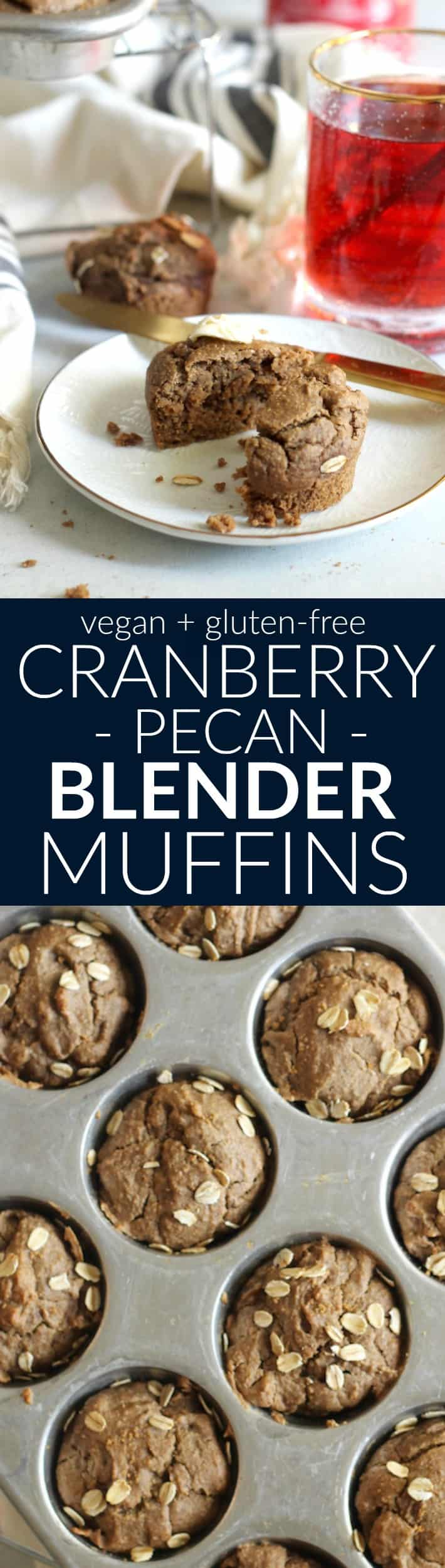 These easy and tasty 100% whole grain Cranberry Pecan Blender Muffins are made in the blender for easy cleanup! Vegan and gluten-free.