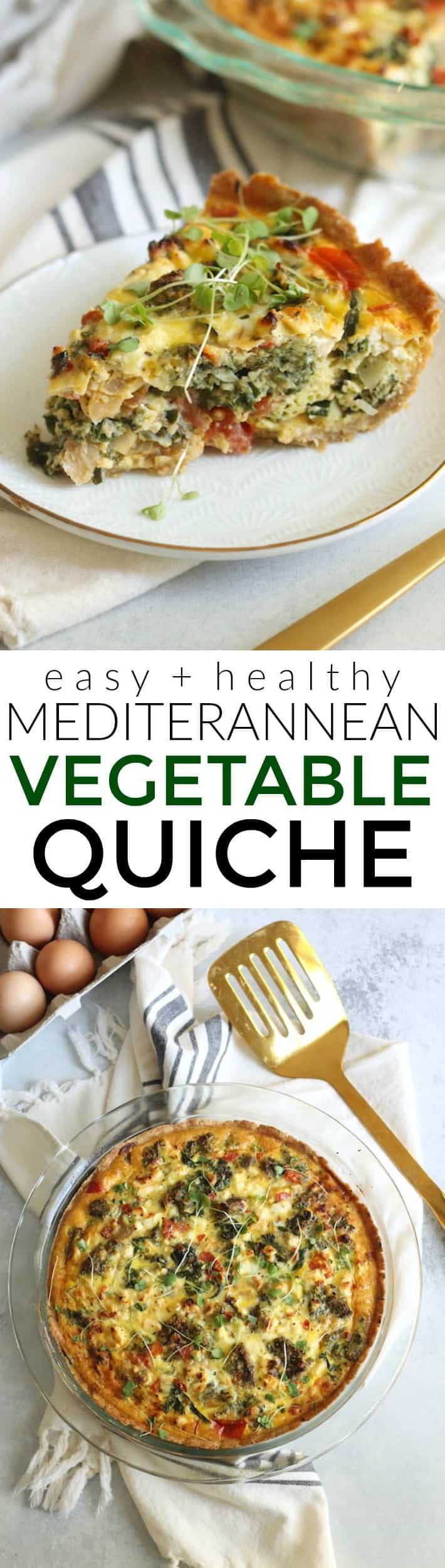 Packed with veggies, tangy feta, and fluffy eggs, this delicious Mediterranean Vegetable Quiche is a wholesome breakfast, lunch or dinner option!