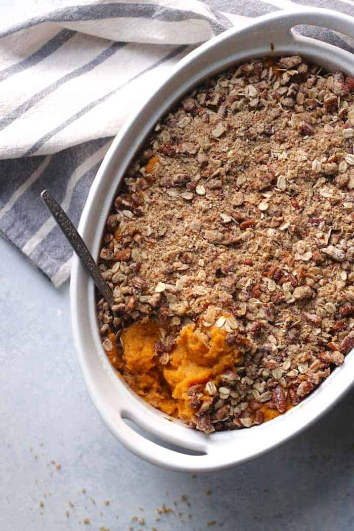 This creamy and delicious healthy Vegan Sweet Potato Casserole with toasty pecan oat topping tastes just like the classic. It's a must for Thanksgiving. Easily gluten-free!