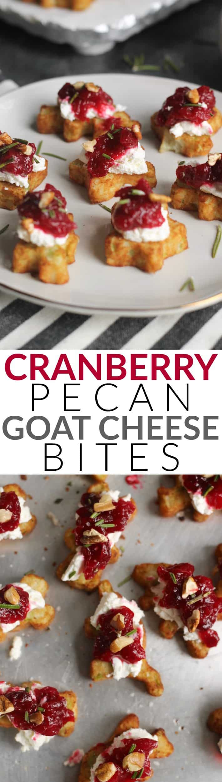 These Cranberry Pecan Goat Cheese Bites are made with Orange Bourbon Cranberry Sauce paired with creamy goat cheese, crunchy pecans, and fresh rosemary for an easy and delicious holiday appetizer.