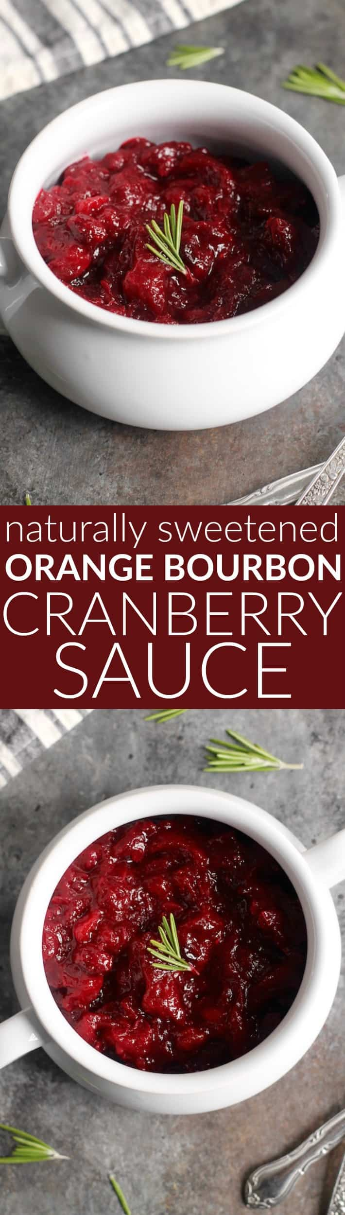 This epic Orange Bourbon Cranberry Sauce is sweetened naturally with pure maple syrup.