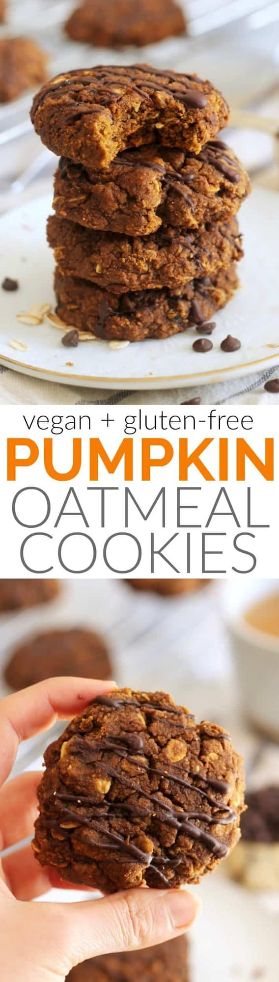 These Soft Pumpkin Spice Oatmeal Cookies make the perfect healthy treat! Packed with whole grains and pumpkin, they're a nutritious way to satisfy any sweet tooth. Vegan and gluten-free.