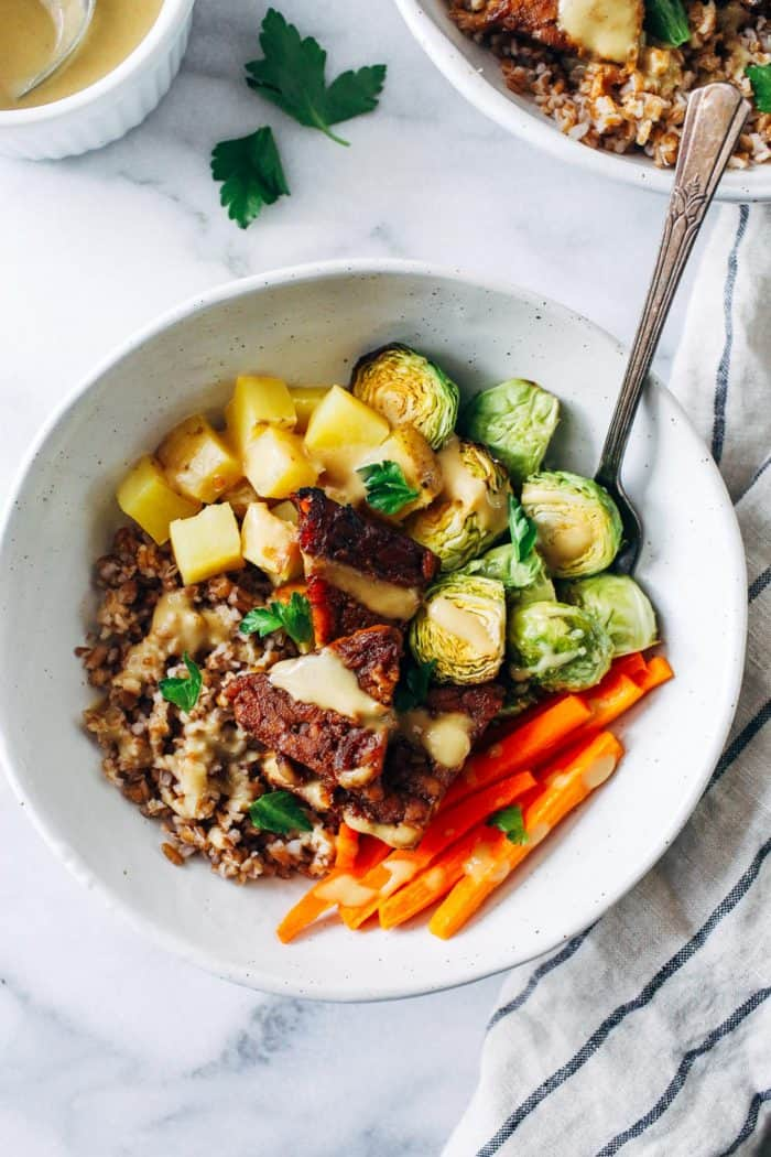 Balsamic Dijon Tempeh Buddha Bowls from Making Thyme for Health