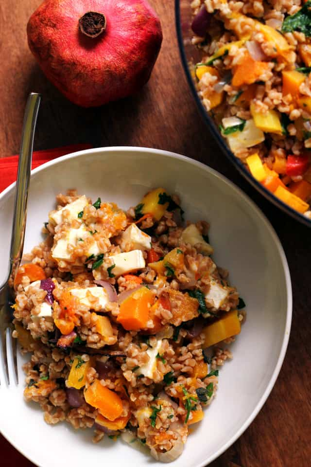 Farro Salad with Butternut Squash, Red Onions, and Brie from Eats Well With Others