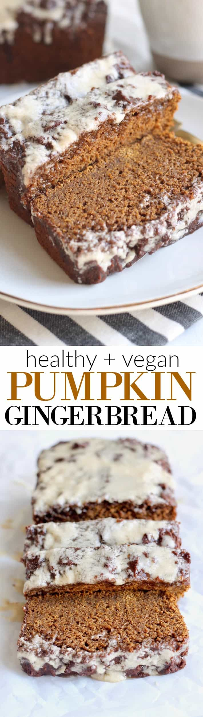 Made with whole wheat flour and sweetened with molasses and pure maple syrup, this healthy vegan Pumpkin Gingerbread with Maple Glaze is perfectly warm and spicy!