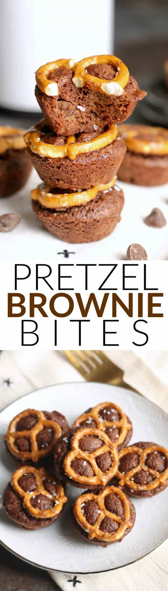 These easy, fudgy Double Chocolate Pretzel Brownie Bites with chocolate chips make the ultimate treat! The pretzel topping adds just enough salt and crunch for the perfect bite.