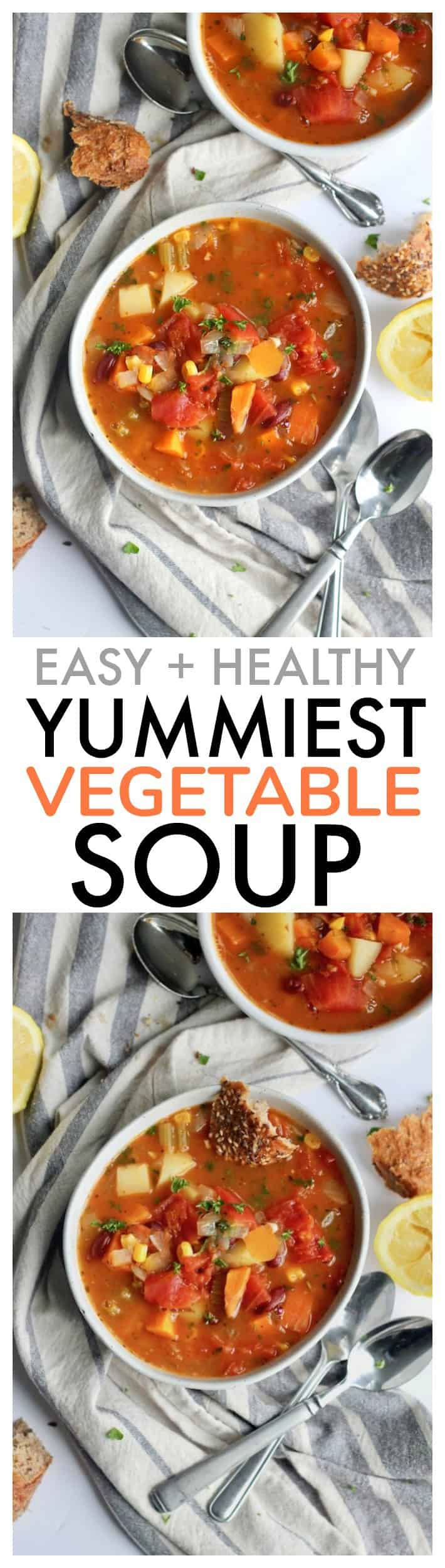 Packed with all kinds of veggies, this easy healthy loaded vegetable soup will become a new family favorite. Serve with crusty bread!