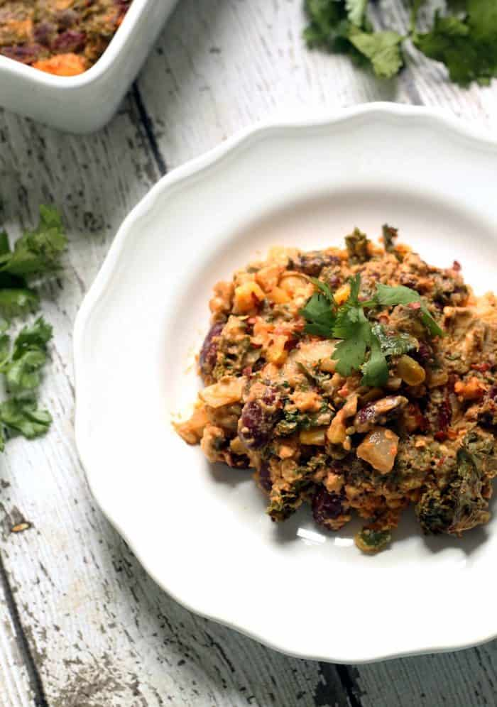 Vegan Tempeh and Kale Enchilada Casserole from Hummusapien