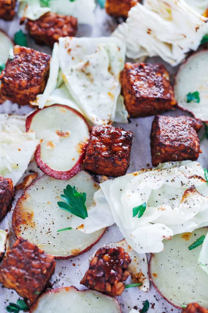 Sheet Pan Cabbage and Tempeh with Mustard Tahini Vinaigrette from Making Thyme for Health