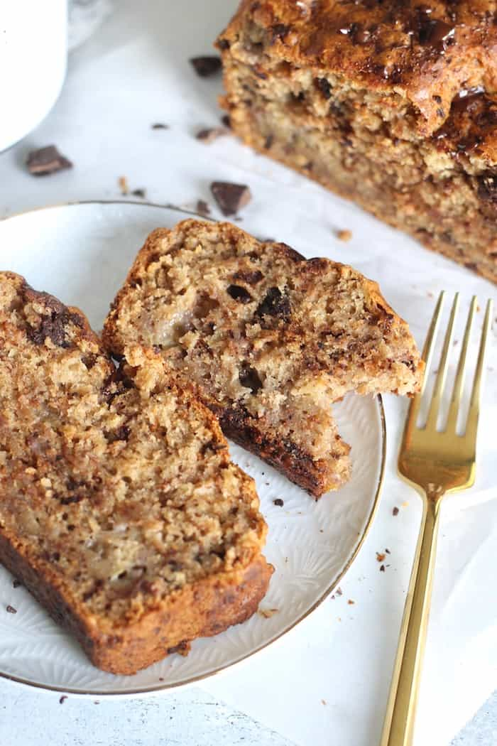 banana bread on plate with fork