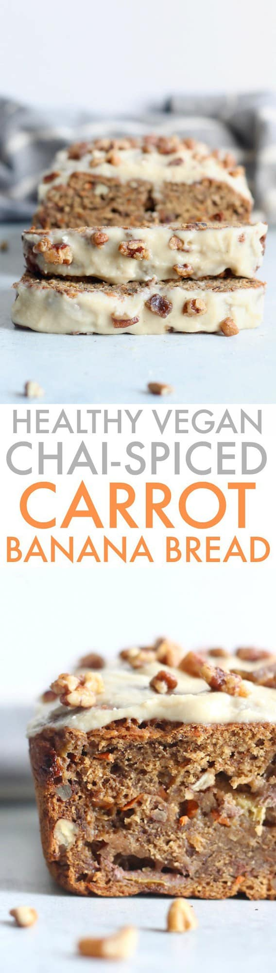 The most epically moist and delicious Healthy Chai-Spiced Carrot Cake Banana Bread loaded with warming spices and topped with the most amazing cream cheese frosting. 100% whole grain and vegan!