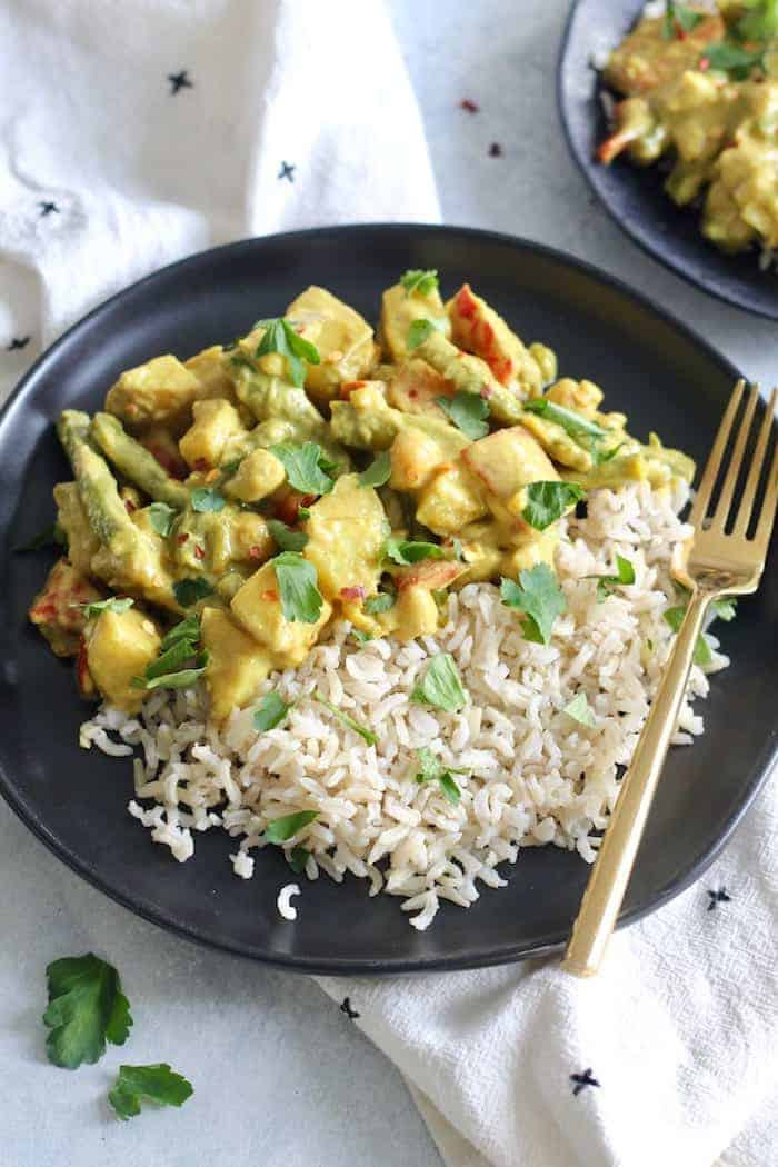This Creamy Spring Vegetable Curry is packed with veggies and a superb curry sauce for a flavorful, hearty, and healthy meal. Vegan and gluten-free!