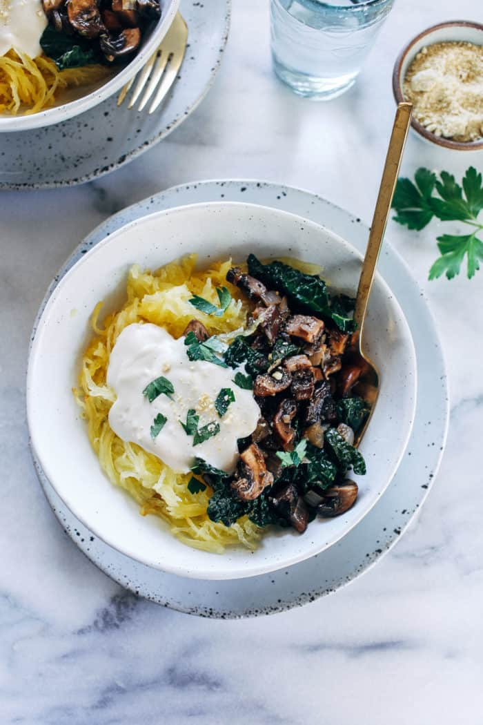 Spaghetti Squash with Mushrooms, Kale and Cashew Alfredo from Making Thyme for Health