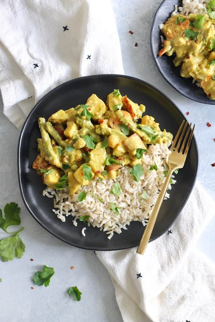 Creamy Spring Vegetable Chickpea Curry from Hummusapien