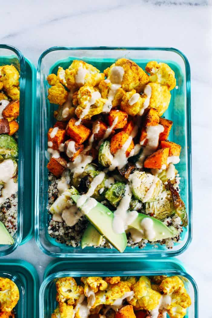 Roasted Vegetable Quinoa Meal Prep Bowls from Making Thyme for Health