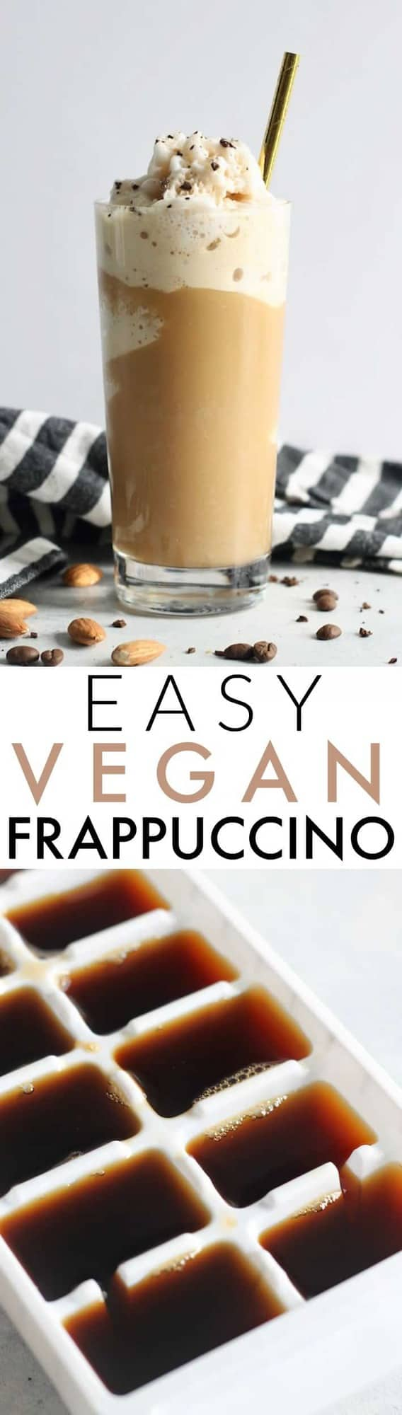 This delicious 4-ingredient Vegan Frappuccino is super creamy, easy, and cheap to make!