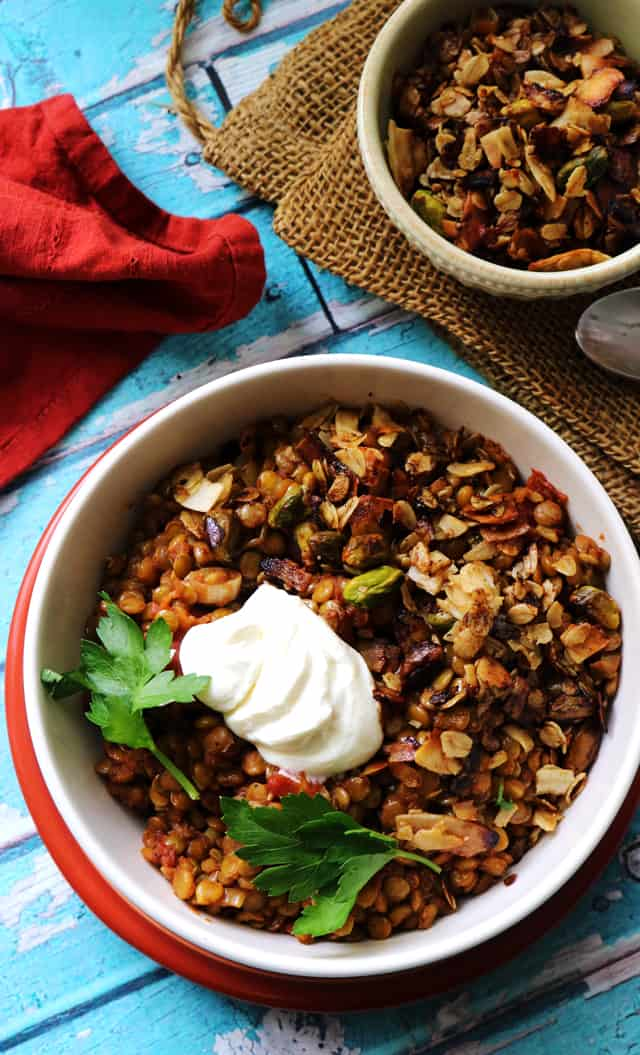 Spiced Braised Lentils with Tomatoes and Toasted Coconut from Eats Well With Others