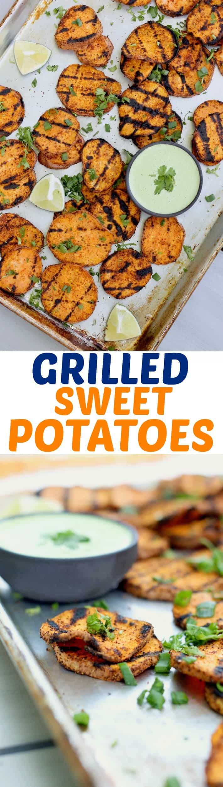 Easy grilled sweet potatoes loaded with spices and grilled to perfection with a creamy cilantro lime yogurt sauce for dipping! The perfect healthy summer side dish.