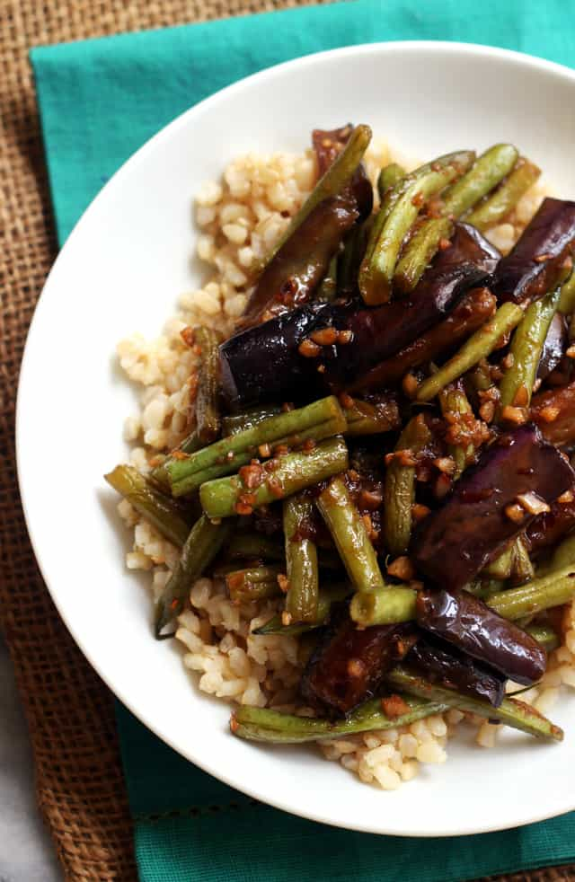 Szechuan Spicy Garlic Eggplant and String Bean Stir Fry from Eats Well With Others
