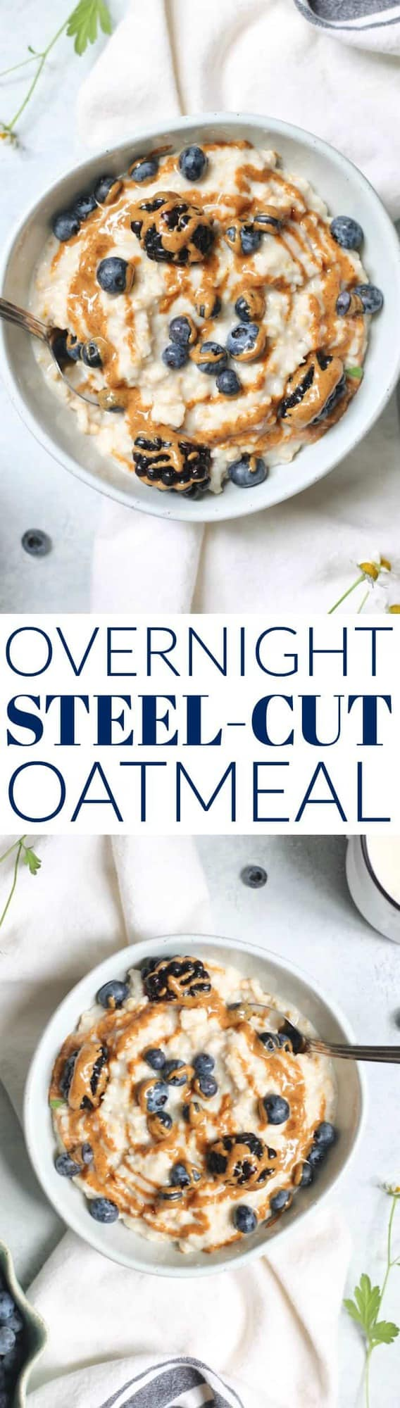 These Overnight Steel Cut Oatmeal are the easiest, foolproof way to enjoy steel cut oats! Spend 5 minutes preparing it at night and wake up to perfectly cooked oatmeal in the morning.