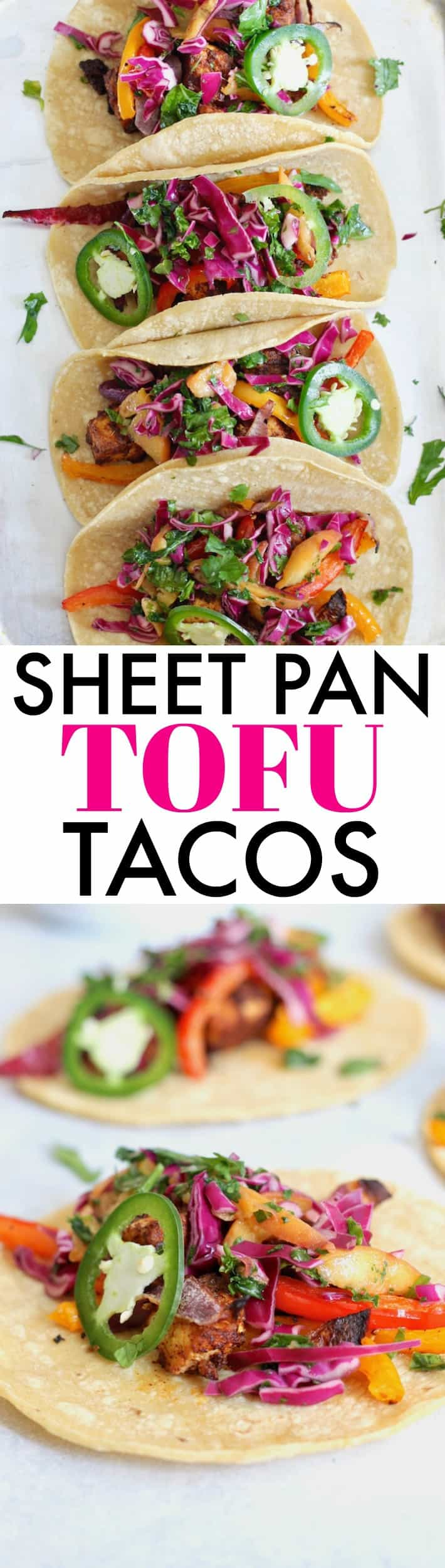 Change the tofu game with these delicious Zesty Sheet Pan Tofu Tacos with Peach Kale Slaw! A fresh, flavorful, wholesome meal the entire family will devour. Vegan + gluten-free.