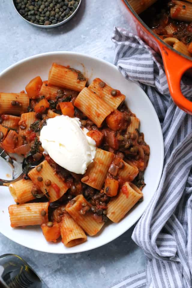Butternut Squash and Lentil Bolognese from Eats Well With Others