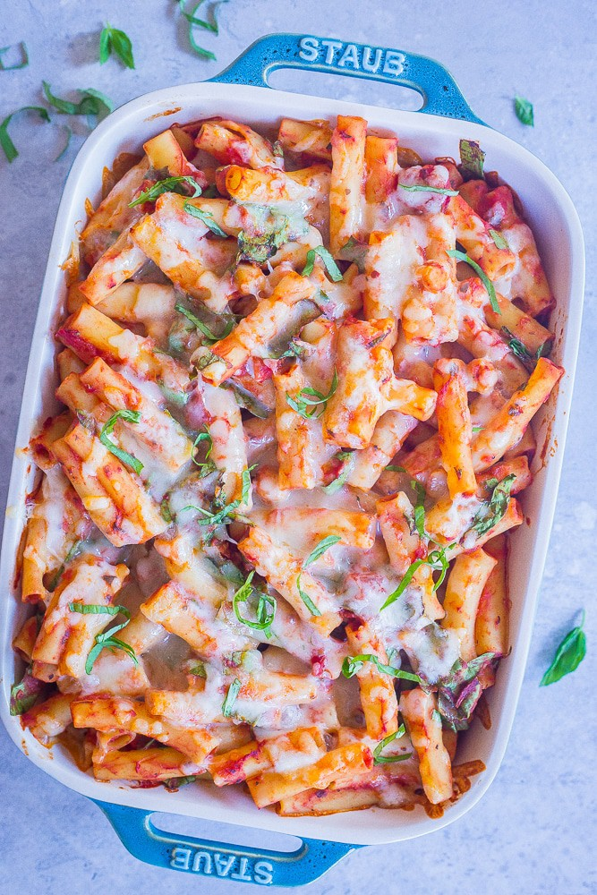 5-Ingredient Baked Ziti with Chickpeas and Spinach from She Likes Food