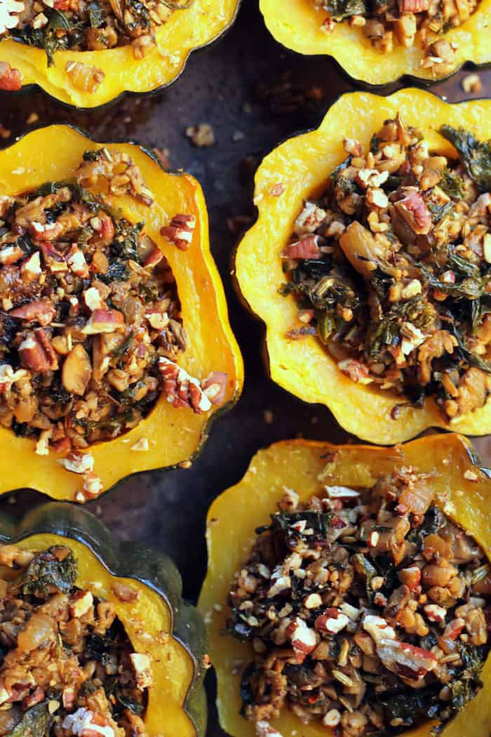 Tempeh Sausage Stuffed Squash from Hummusapien