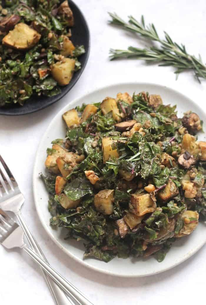 Rosemary Roasted Potato Mushroom and Lentil Kale Salad from Hummusapien