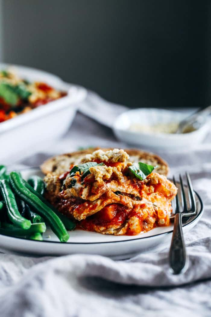 Vegan Butternut Squash and Kale Lasagna from Making Thyme for Health
